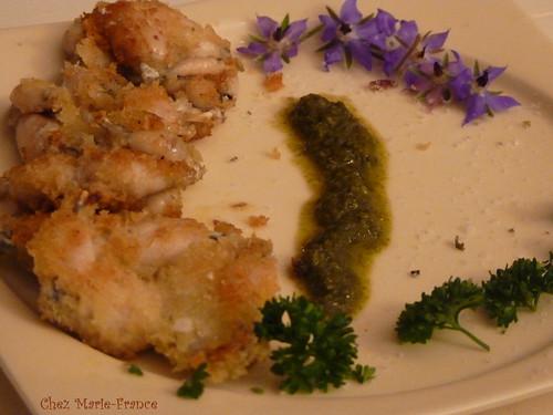 Grenouilles panées, sauce bourrache