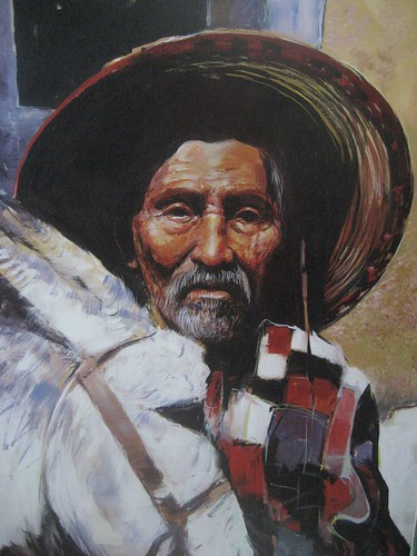 Mexican with donkey - Painting - Realism