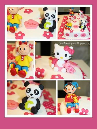 Detalhes Bolo nº 2 Hello Kitty, Noddy, Ruca e Panda by Osbolosdasmanas
