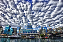 Clouds Darling (MarkMeredith) Tags: city cloud weather modern clouds skyscraper port boat ship harbour sydney australia darlingharbour cbd cloudformation nwn officeblocks yahoo:yourpictures=skyline