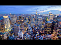 Midtown New York City at Night (RBudhu) Tags: newyorkcity rockefellercenter timessquare empirestatebuilding gothamist bluehour statueofliberty gotham lowermanhattan topoftherock 30rock gothamcity bankofamericatower midtownskyline newyorkcitysunset midtownmanhattanskyline empirestateofmind bluehournewyork