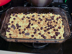 Chocolate Peanut Butter Double Layer Crisp Rice Treats