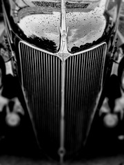 Ford Grill - Tilt Shift (CGMethven) Tags: bw ford car rain 1936 blackwhite illinois automobile antique shift grill tilt berwyn iphone tiltshift iphone3g cgmethven