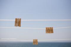 La vie ne tient qu' un fil (Jerome Pouysegu) Tags: ocean life blue sea sky mer thread canon  fil sigma hanging 5d 50 linge clothespin vie pince natureplus