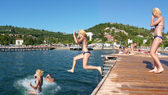 Cool jump into the Adriatic Sea at Portorose (Bn) Tags: blue trees sea roses summer two sky panorama sun holiday hot tourism beach girl weather port marina swimming relax geotagged fun one three pier seaside jumping holding topf50 warm mediterranean wind cloning salt palm slovenia coastal blond evergreens baths shooting dare noses relaxation pleasure adriatic continues istri friendliness leisurely aromas portoro portorose 50faves jumpiing panview letsjump cloningpeople climateump geo:lon=13592936 geo:lat=45511779