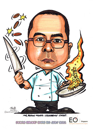 Chef Ryan Hong caricature for EO Singapore
