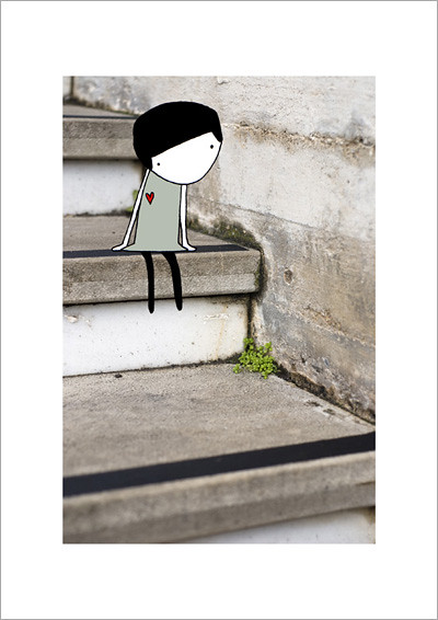 girl-on-stairs_A4 print