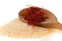 Saffron of L'Aquila (Marco Speranza) Tags: wood red stilllife food white colors closeup studio mediterranean flavor spice dry gourmet agriculture rise isolated saffron elegance basmati vegetarianfood driedfood