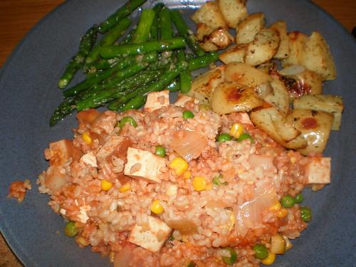 Smoked Tofu, Courgette and Sweetcorn Risotto; Garlic Asparagus (TGOV); Zoe's Grandma's Roasted New Potatoes (TGOV)