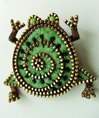 Little green frog... (woolly  fabulous) Tags: green wool pin brooch felt frog zipper embroidered