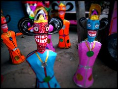 Ravana effigies (kaniths) Tags: new pink blue orange india festival colorful dolls delhi dussehra ramayan ramlila papermade tagoregarden titarpur ravaneffigy dussehradelhi