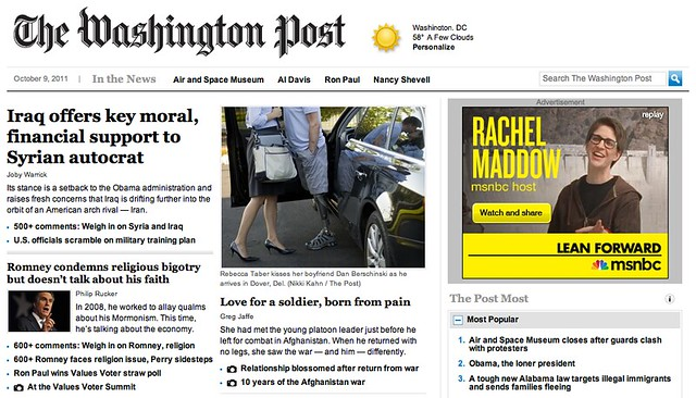 Washington Post Home Page Headline on Romney Response