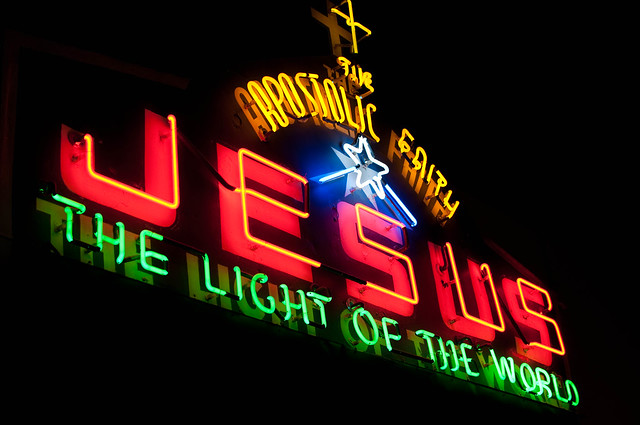 long-term neon exhibit's Jesus sign
