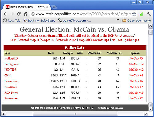 2008 Presidential Head to Head Matchup: McCain vs Obama, Nov-Dec, 2007