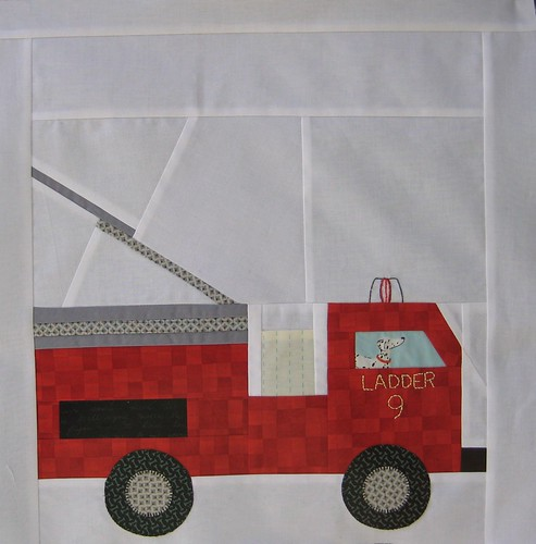 Fire truck block by Poppyprint