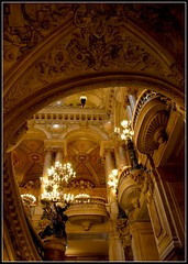 Looking Up, Opra National De Paris (cleofysh) Tags: music paris france building stairs gold lights balcony carving chandeliers railing magnificent palaisgarnier grandeur opulence opragarnier opradeparis magnificence opranationaldeparis architectcharlesgarnier