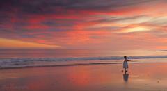 A little ballerina (Yan L Photography) Tags: pink sunset orange seascape reflection beach kids kid mood play naturalbridge naturalbridges