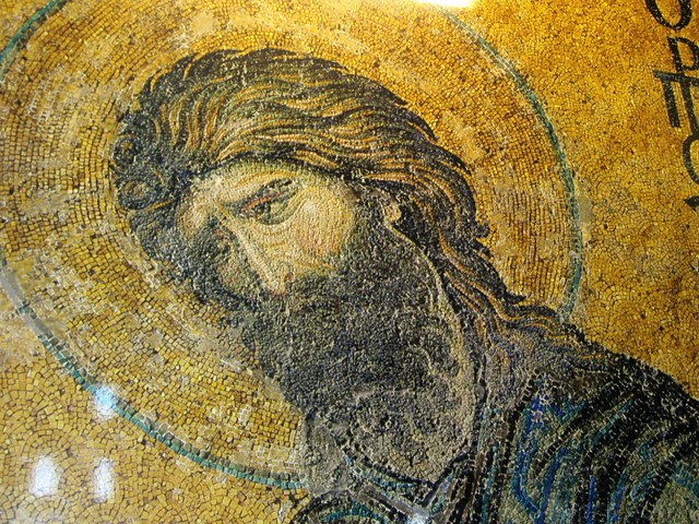 Cool highlights on the hair of St John the Baptist, Hagia Sofia