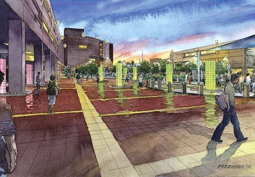 rendering of renovated UDC plaza (via UDC)