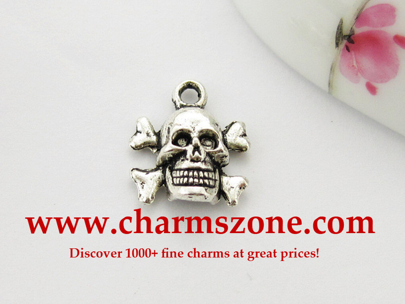 Skull and crossbones metal charms
