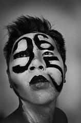 One [every day i'm photo-in'] (thetimguan) Tags: blackandwhite selfportrait facepaint project365 myfaceismycanvas mfimc thetimguan