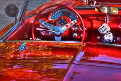 Behind the wheel of a '61 Corvette (StGrundy) Tags: auto red usa hot classic cars chevrolet car wheel vintage reflections georgia nikon automobile shiny unitedstates sweet stingray interior south roswell mirrors southern ups chevy chrome windshield corvette speedometer hdr carshow vette polished 1961 gauges tachometer fuzzydice photomatix d80 stgrundy unitedwaycarshow