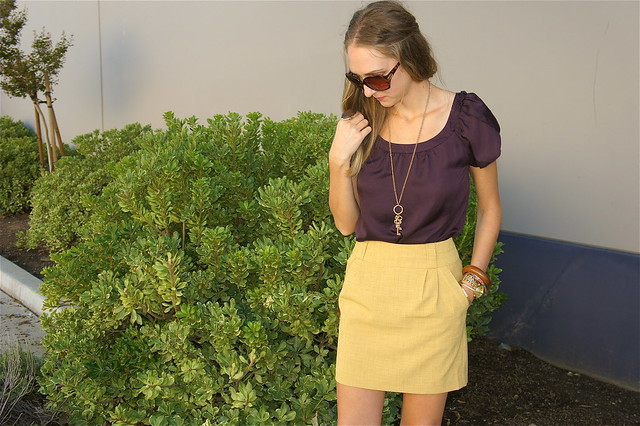 Mustard and plum outfit