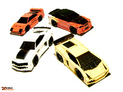 The Stubbies (F40, Camaro, M3, Gallardo) (ZetoVince) Tags: red white chevrolet car yellow greek lego vince racing camaro chevy vehicle lamborghini stubby gallardo blackrims stubbies zeto 10wide pullbackmotor zetovince dreamdealer