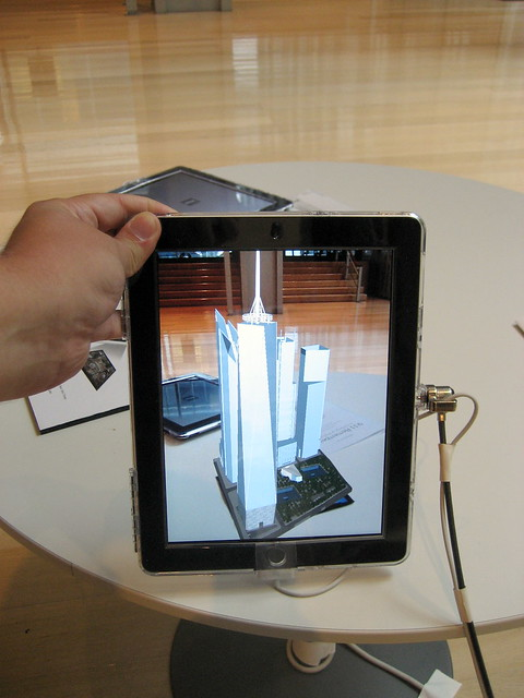 A 3D virtual iPad rendering of the future World Trade Center complex
