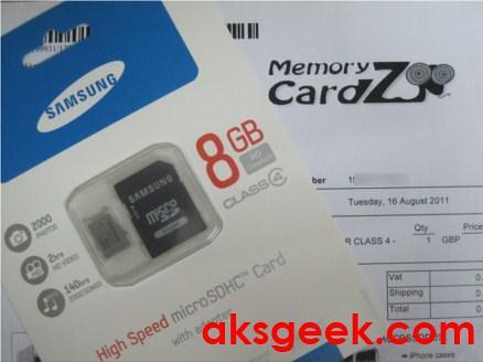 Samsung class 8GB microSDHC card