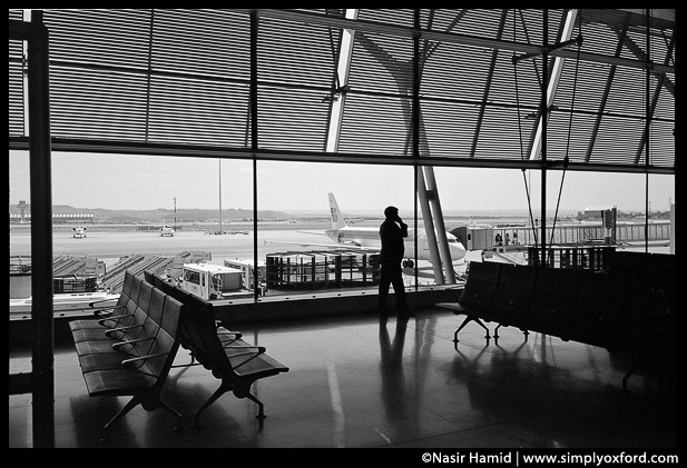 Madrid airport departure lounge.