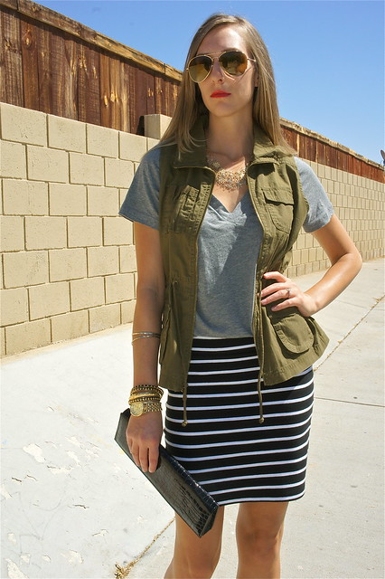 Cargo vest with striped skirt