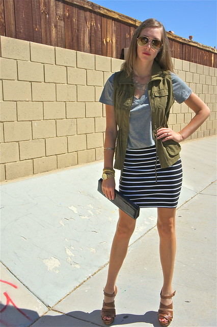 Green vest with striped skirt