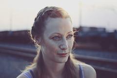 Another sunny day (mickiky) Tags: light sunset portrait woman sun backlight donna tramonto rail trains barbara sole ritratto controluce binari treni