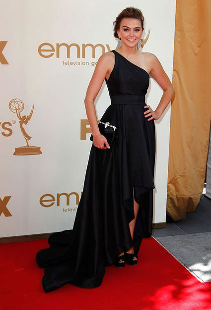 Actress Aimee Teegarden arrives to the 63rd Primetime Emmy Awards at the Nokia Theatre L.A. Live on September 18, 2011 in Los Angeles, United States.