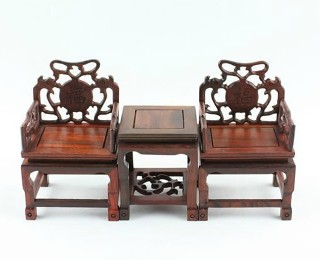 Chinese antique blackwood furniture 3 in 1 set Straight-backed chair WX303