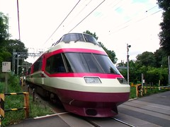 HiSi past the crossing (Matt-san) Tags: railroad japan private japanese asia tracks railway trains transportation rails odakyu romancecar hisi odakyuelectricrailway photosjapan romancecars
