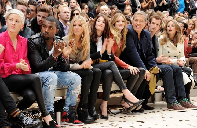 front row 2 - Ellie Goulding, Kanye West, Sienna Miller, Gemma Arterton, Rosie Huntington-Whiteley and Mario Testino Andy Murray and Kim Sears at the Burberry Prorsum Spring Summer 2012