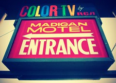 Color TV motel sign () Tags: usa color sign club america photography washington tv discount cool interesting highway state pacific northwest image good united picture free motel cable retro nostalgia international vision photograph 99 sound nostalgic americana local states roadside googie weekly vacancy hbo diners puget rates calls midcentury deals madigan