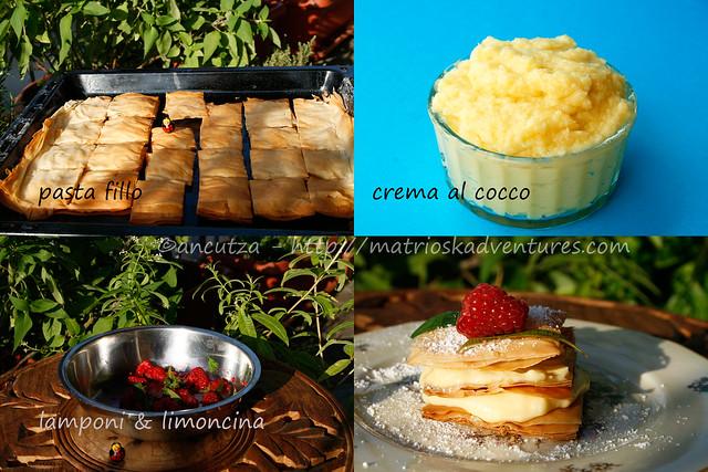 immagine ricetta con foto Millefoglie di pasta fillo alla crema di cocco  lamponi