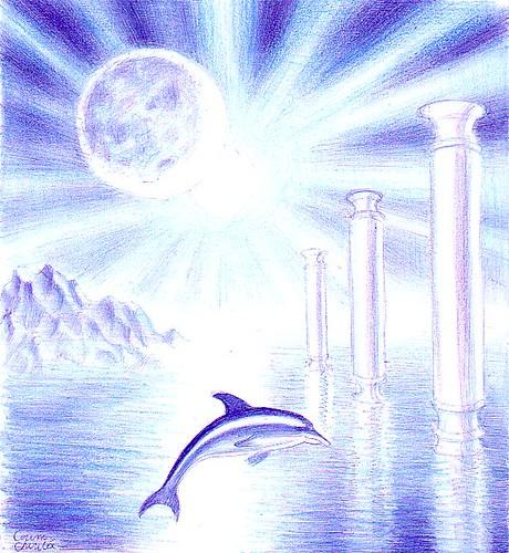 Peisaj de vis cu eclipsa de soare coloane si delfin desenat cu pixul 21-09-2011