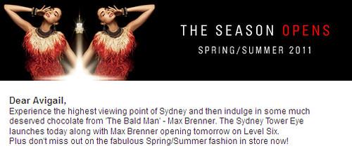 Sydney Tower Eye + Max Brenner = 23 September Launch!