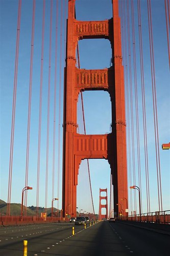 CLoser look at the pillar of San Francisco Golden Gate Bridge
