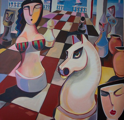 Queen and Horse - Painting - Cubism