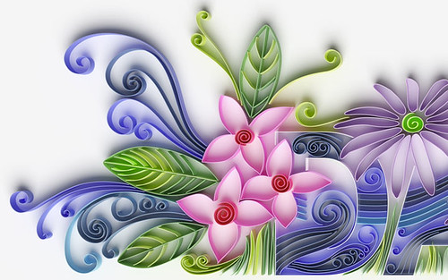 digital quilled floral design in purple, pink, and green