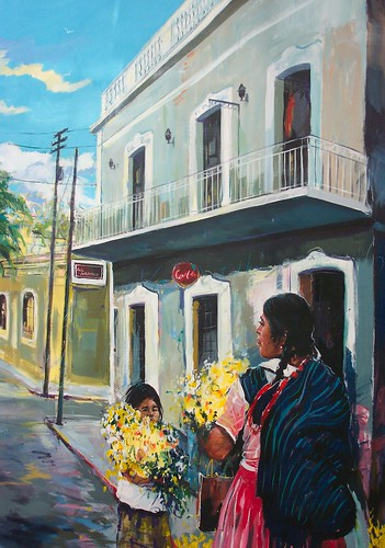 Mujer con las floras - Painting - Impressionism