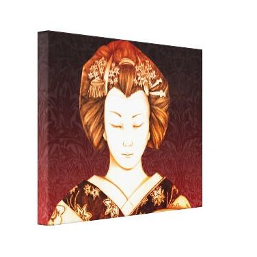Lienzo Geisha ojos cerrados