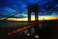 The George Washington Bridge (mudpig) Tags: nyc newyorkcity longexposure morning bridge light newyork clouds sunrise geotagged dawn newjersey traffic manhattan nj hudsonriver gothamist georgewashington hdr gwb fortlee georgewashingtonbridge washingtonheights lighttrail mudpig stevekelley stevenkelley