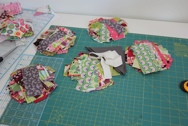 Fabric cutting in process...