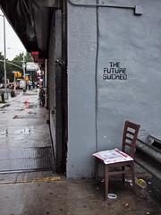 no time like the present (zlandr) Tags: street city nyc newyorkcity urban streetart newyork streets brooklyn graffiti parkslope olympus sp 52 ep1 spnp emptychair streetnopeople streetphotographynow streetphotographynowproject chrisfarling zlandr thefuturesucked instruction52
